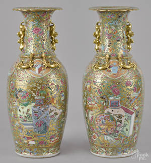 Pair of Chinese export famille rose vases 19th c