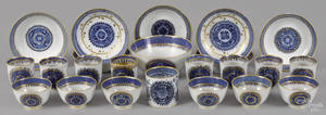 Group of Chinese export blue Fitzhugh teawares 19th c