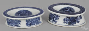 Two Chinese export porcelain blue Fitzhugh salts 19th c