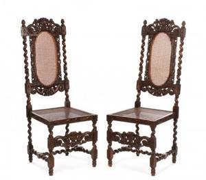 Pair of Charles II Style Walnut Hall Chairs