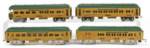 Four reproduction American Flyer standard gauge train cars
