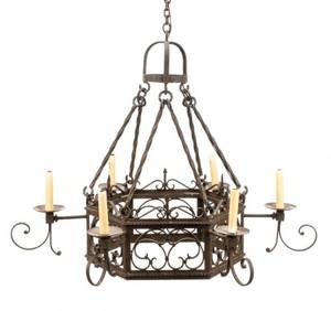 Continental Wrought Iron Six Light Chandelier