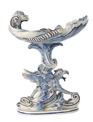 Blue White Majolica Figural Centerpiece 19th C