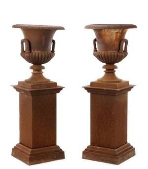 Pair of Large Cast Iron Garden Urns on Pedestals