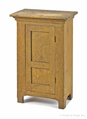 Continental painted pine table top cupboard late 19th c