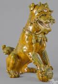 Large Chinese sancai pottery figure of a foo dog
