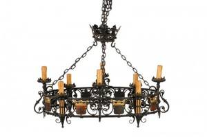 19th C Gothic Revival Armorial Iron Chandelier