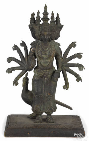 Southeastern Asian bronze figure of Kartikkeya