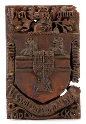 19th C English Carved Oak Coat of Arms Hughes