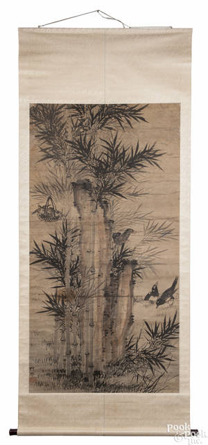 Chinese watercolor scroll of bamboo 19th c