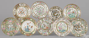 Nine Chinese export famille rose porcelain plates 19th c
