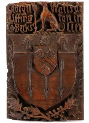 Watts Clan Carved Wood Coat of Arms 19th C