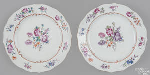 Pair of Chinese famille rose porcelain plates mid 18th c