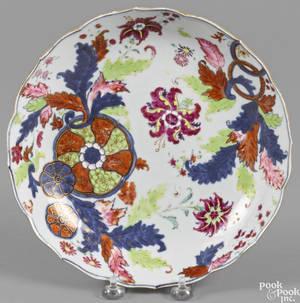 Chinese export porcelain pseudotobacco leaf shallow dish ca 1800