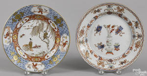 Two Chinese export porcelain Imari palette plates 18th c