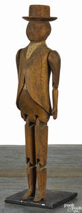 Carved pine articulated figure of a gentleman with a top hat 19th c