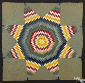 Pennsylvania pieced lone star crib quilt ca 1900
