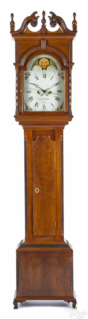 Philadelphia Chippendale cherry tall case clock late 18th c