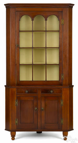 Pennsylvania Federal cherry twopart corner cupboard ca 1840