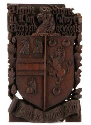 English Carved Oak Coat of Arms Hughes Clan