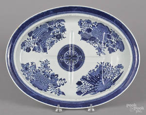 Chinese export porcelain blue Fitzhugh well and tree platter 19th c