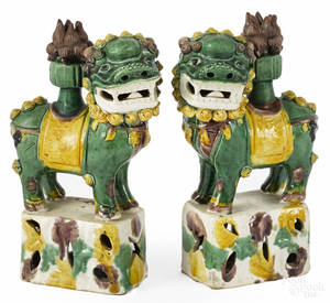 Pair of Chinese Qing dynasty Sancai glaze foo dog joss stick holders