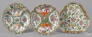 Three Chinese export porcelain rose medallion serving dishes 19th c