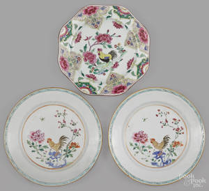 Pair of Chinese famille rose porcelain plates late 18th c