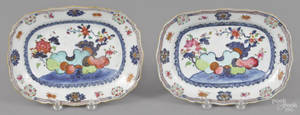 Pair of Chinese export porcelain pseudo tobacco leaf undertrays early 19th c