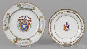 Two Chinese export porcelain armorial plates late 18th c