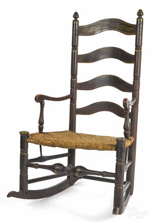 Delaware Valley painted ladderback rocking chair ca 1800