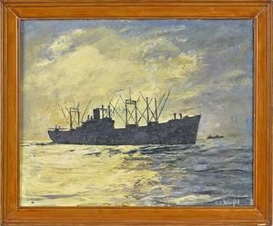 Oil on board seascape of a ship at sea