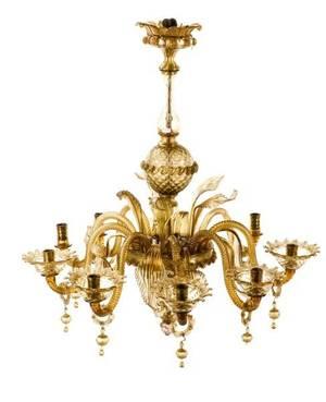 Murano Art Glass Eight Light Chandelier