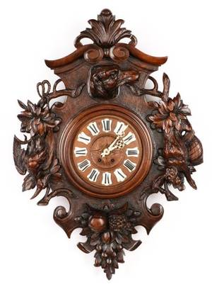 Impressive Black Forest Carved Wall Clock c1880