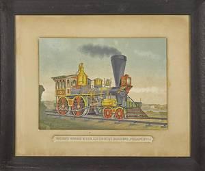Color lithograph of a train locomotive