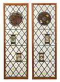 Pair English 16th C Stained Glass Quarry Doors