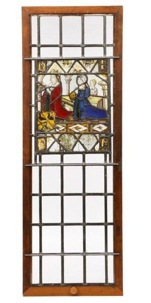 c1500 English Stained Glass Kneeling Donors