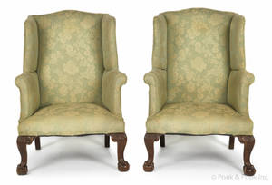 Pair of Chippendale style walnut wingback chairs