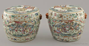 Pair of Chinese export famille rose porcelain stands 19th c