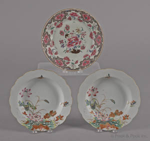 A pair of Chinese export porcelain famille rose shallow bowls ca 1800