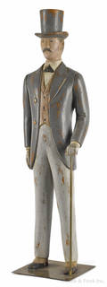 Carved and painted pine figure of a gentleman 20th c