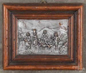 Wax relief of a European landscape with peasants