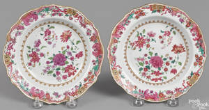 Pair of Chinese export famille rose shallow bowls 18th c