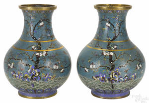 Pair of Chinese cloisonn urns late 19th c