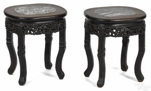 Pair of Chinese carved hardwood marble top stands ca 1900