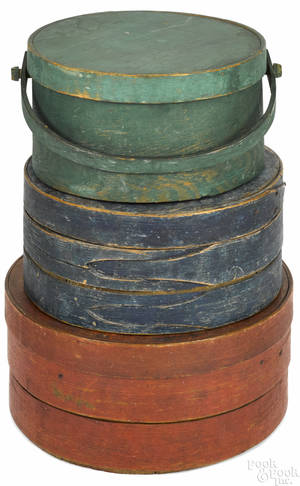 Three painted bentwood pantry boxes 19th c