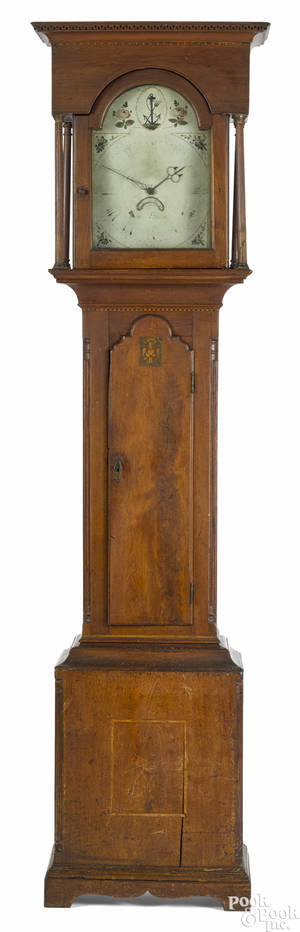 Lancaster County Pennsylvania Chippendale walnut tall case clock late 18th c