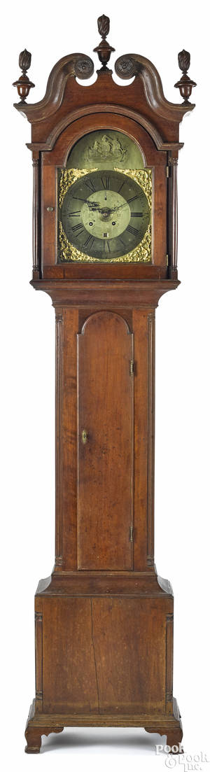Lancaster Pennsylvania Chippendale walnut tall case clock ca 1790