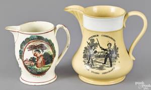 English yellowware pitcher early 19th c