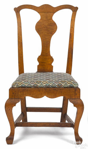 Pennsylvania Queen Anne tiger maple dining chair 18th c